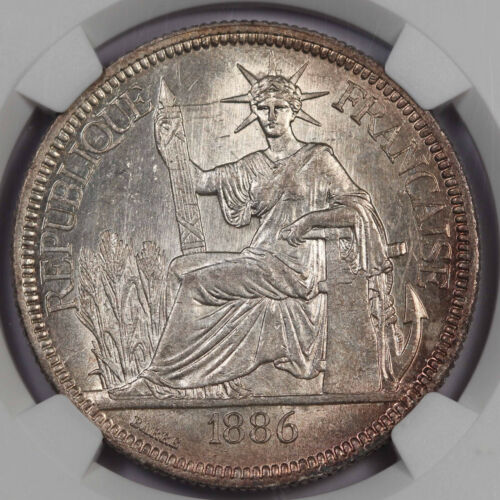 French Indo China 1886 A 1 Piastre 27.215 Gram Silver Coin NGC MS62 UNC/BU KM#5