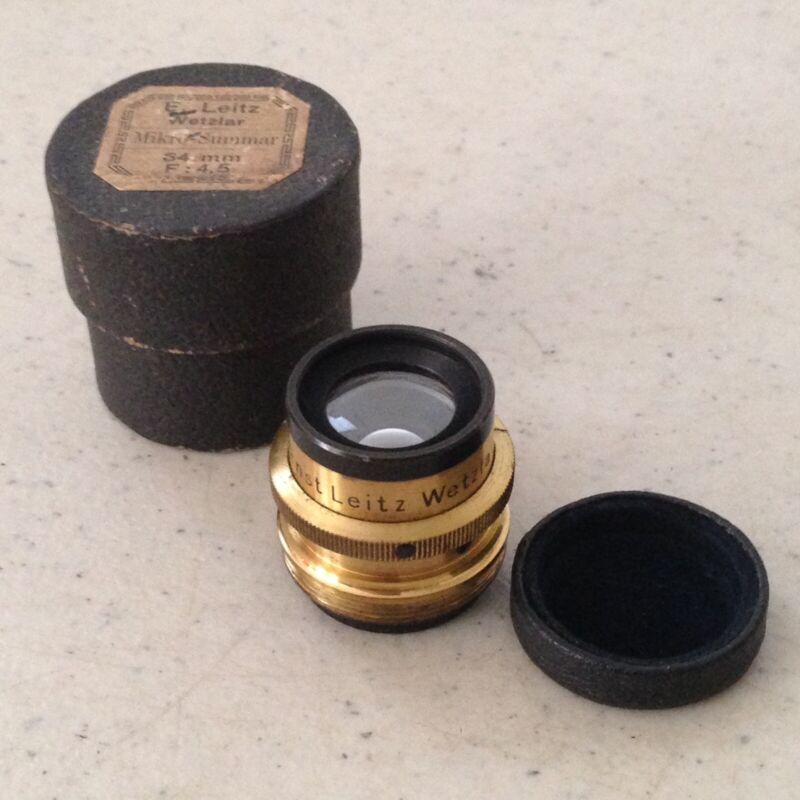 Vintage Leica Leitz Mikro Summar 4.5/64mm Screw in Box
