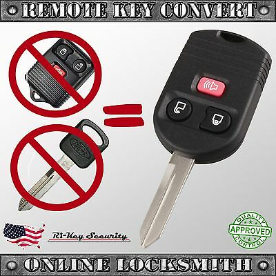 Keyless Entry Remote and Key Convert To One 3 Buttons Transmitter and Battery
