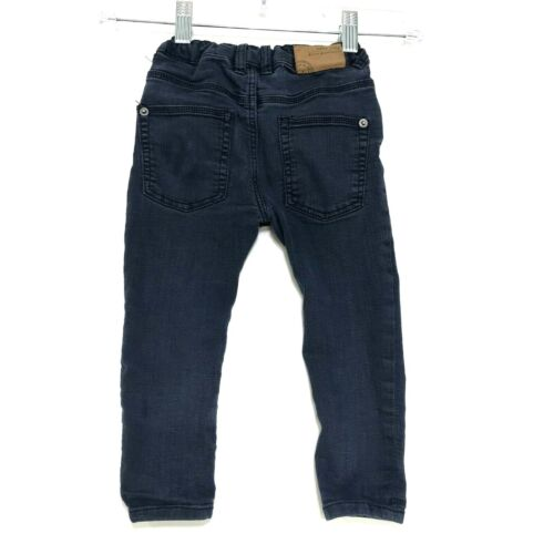 Zara Baby Faded Dark Blue Skinny Jeans Sz 18 24 Months 92cm Adjustable Waist