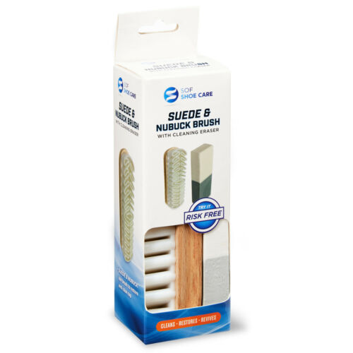 SOF SHOE CARE SUEDE & NUBUCK BRUSH with CLEANING ERASER CLEANS RESTORES REVIVES