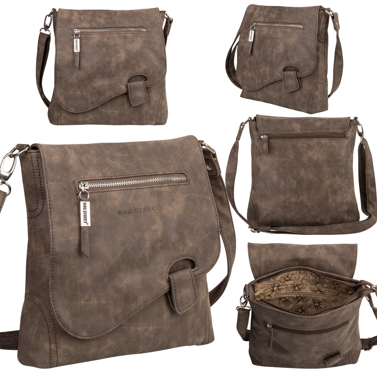 Bag Street Damentasche Umhängetasche Handtasche Schultertasche K2 T0104 Braun