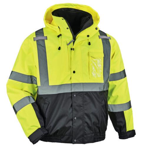 Ergodyne GloWear Class 3 Reflective Safety Bomber Jacket, Yellow/Lime