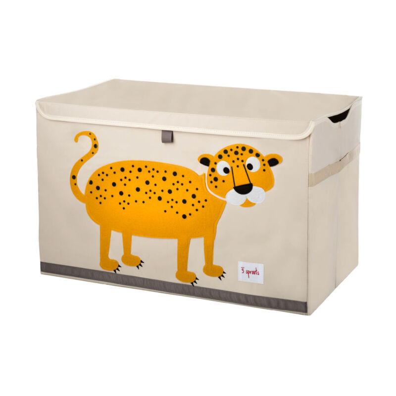 3 Sprouts Kids Toy Chest - Storage Trunk for Boys and Girls Room, Leopard
