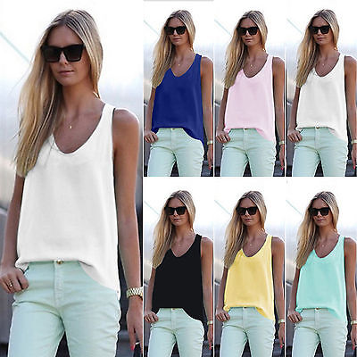 Womens V Neck Chiffon Sleeveless Vest Blouse Casual Tank Loose Summer Tops Shirt