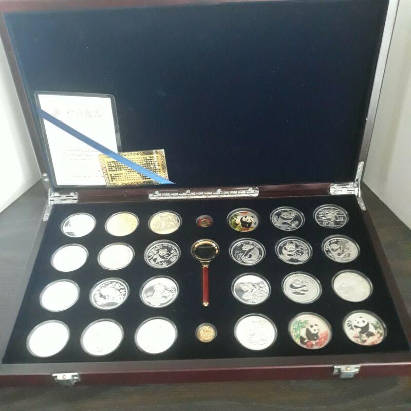 1983 - 1999 China Panda Silver Plated & Gold Plated 26 Medals Wood Box Set & COA
