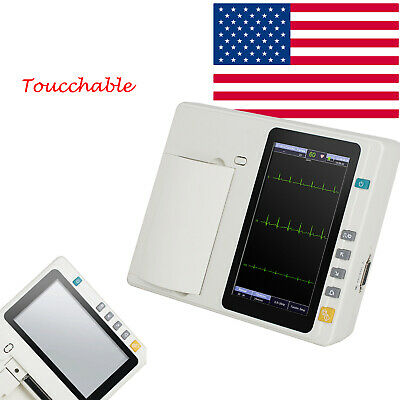 Medical Touchable 3 Channel 12-lead Ecgekg Machine Electrocardiograph Fda Ce