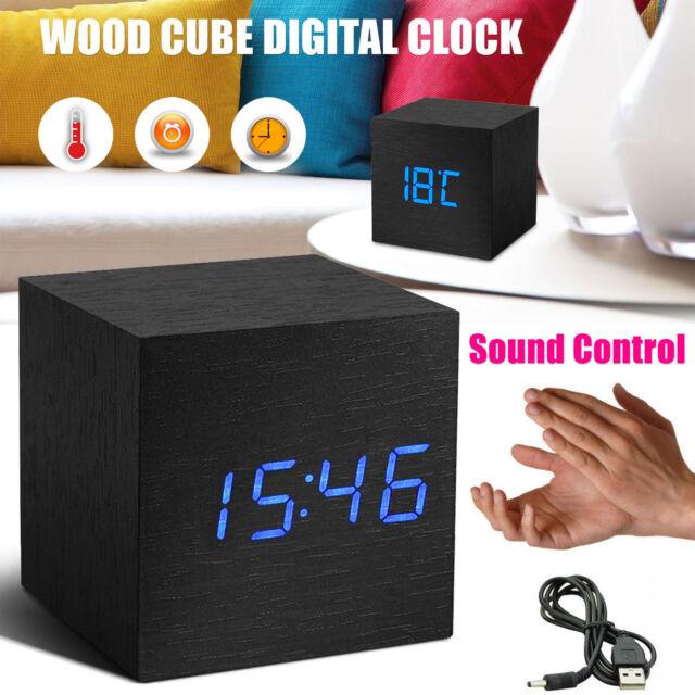 Latest Wooden Digital Clock Cube LED Control Desk Alarm Room Temperature UK New