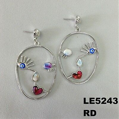 (Colorful Stone Picasso Style Evil Eye Silver Finish Drop Dangle Hook Earrings )