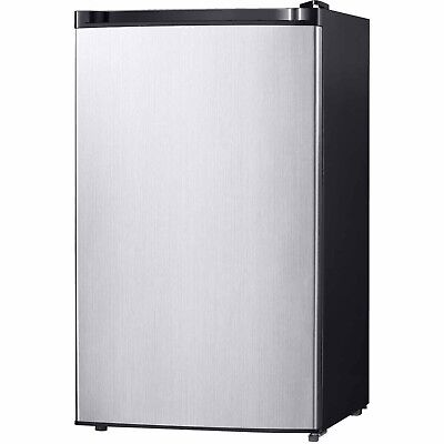 Midea 4.4 Cu Ft Free Standing Compact Refrigerator Stainless Steel
