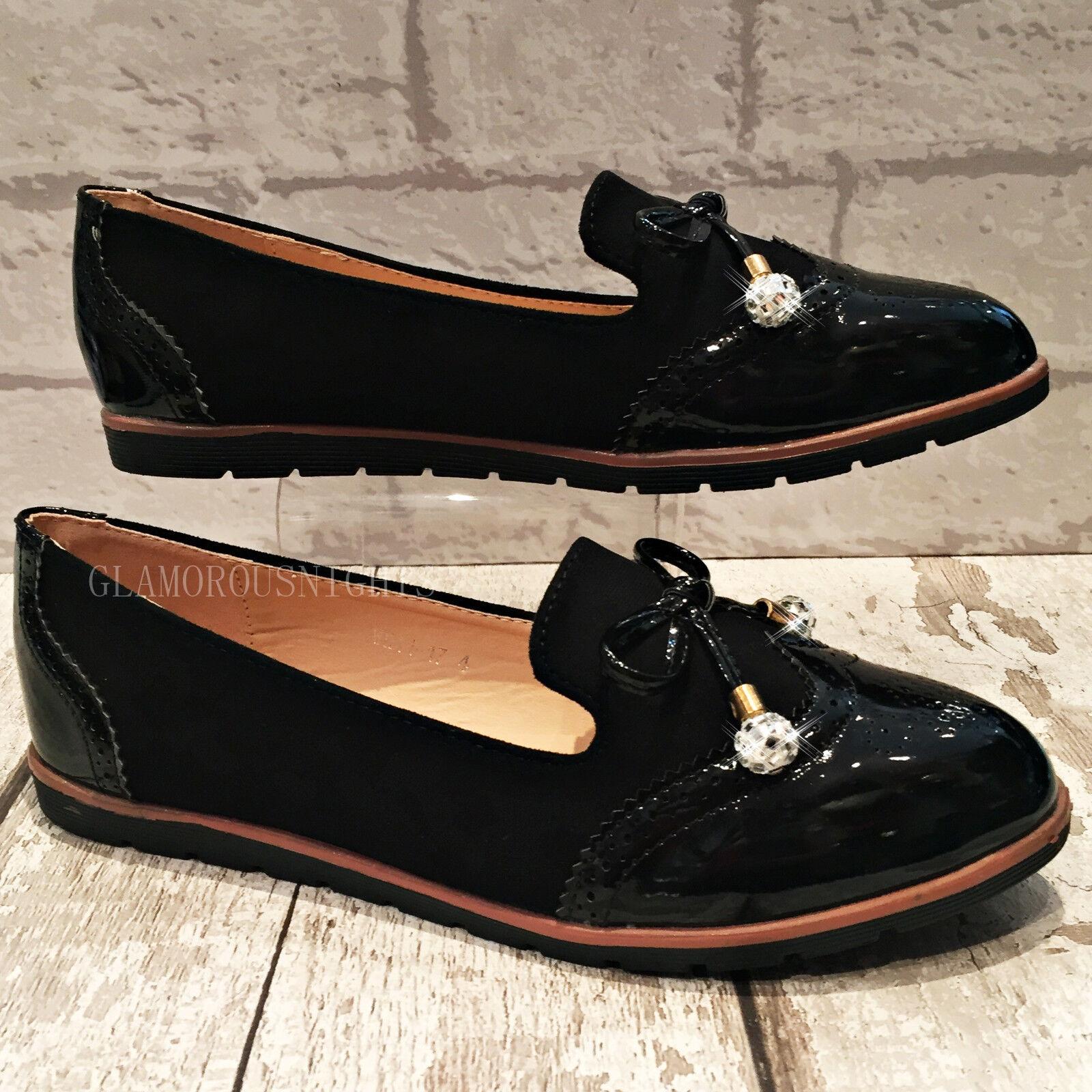 Ladies black flat Patent shimmer