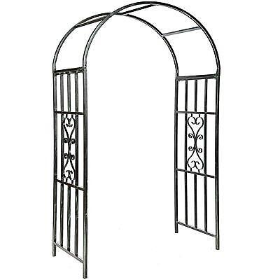 Metal Garden Patio Wedding Rose Arch Arbour Archway Climbing Plant Trellis Black