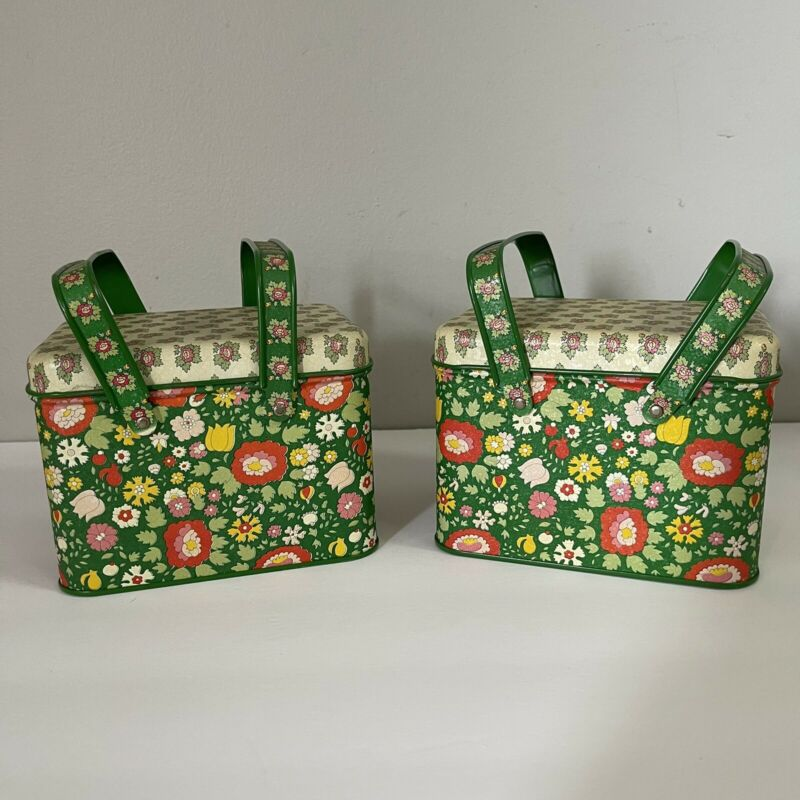 2 Vintage Potpourri Press Tins Green Floral w/ Handles Made in USA Greensboro NC