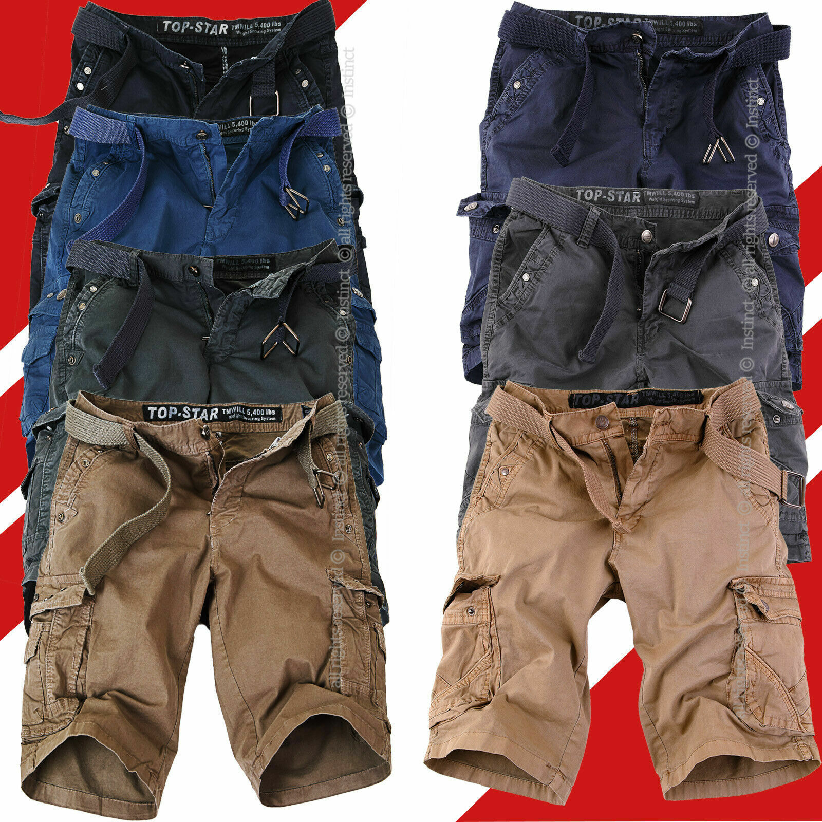 Bermuda Uomo Cargo Pantaloni Corti Pantaloncini Shorts Tasche Laterali Tasconi
