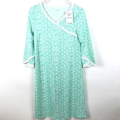New Garnet Hill Xs 100  Organic Cotton Green Floral Nightgown Asian Wrap B38