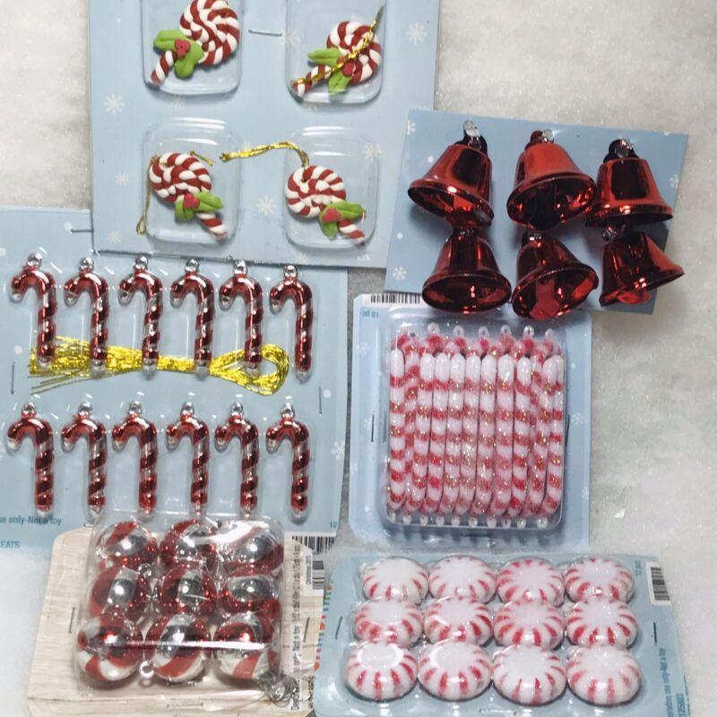 Mini Peppermint ornaments Candy Cane Lollipop, Bell, miniature 61 pc.
