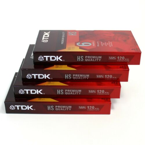 TDK New Factory Sealed Blank VHS VCR HS Premium Quality Tapes T-120HS, Lot of 4