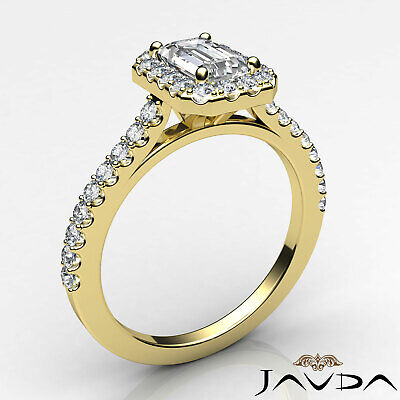 Halo French U Pave Women's Emerald Natural Diamond Engagement Ring GIA G VS2 1Ct 8