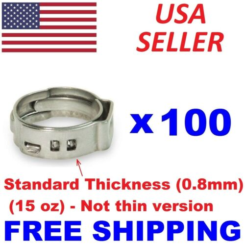 "(100) 1/2"" PEX Stainless Steel Clamps Cinch Pinch Rings ASTM NSF Certified SSC-2"