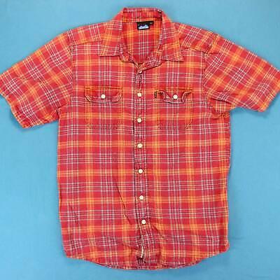 Men's KAVU PLAID Shirt Size Medium M/L Short Sleeve Cotton Soft Red Casual