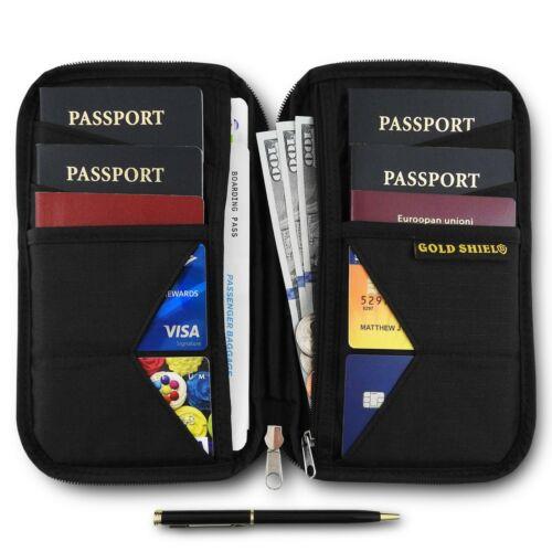 Travel Wallet & Family Passport Holder RFID Blocking Document Organizer Black
