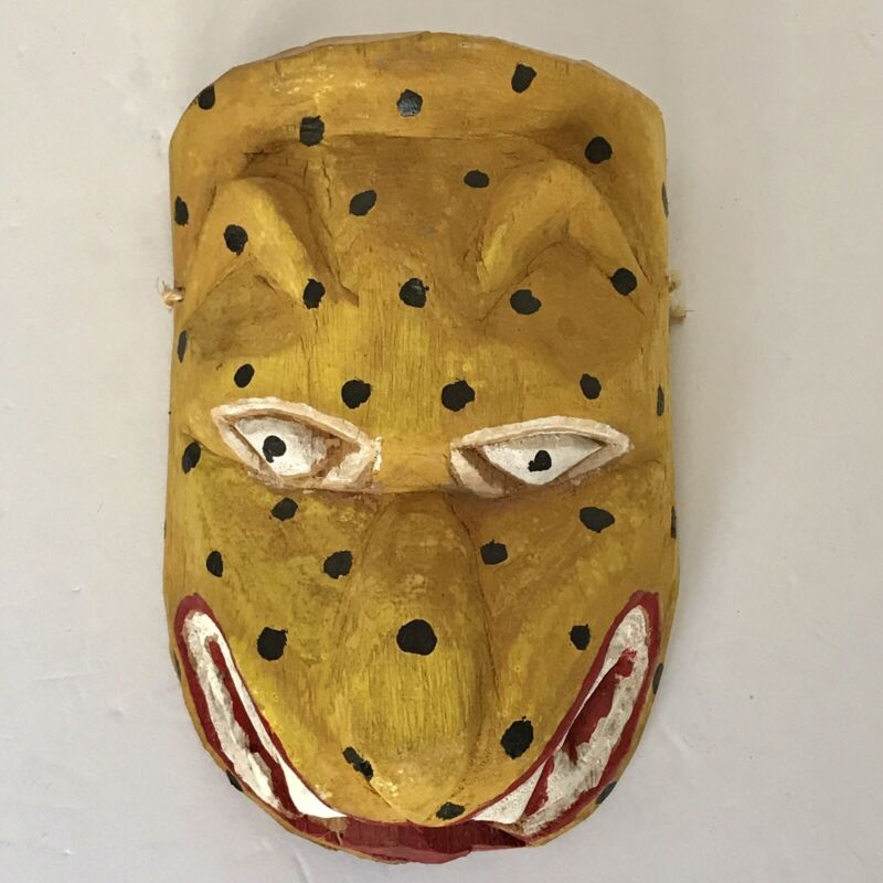 Vintage Wood Leopard Hand Carved/Painted Mexican Folk Art Mask Wall Art