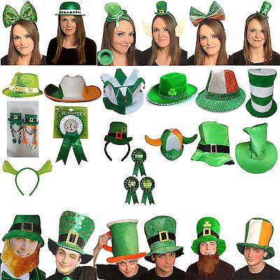 New St Patrick Day Womens Ladies Mens Hats Rosettes Headbands Shamrock - Womens St Patricks Day Kostüm