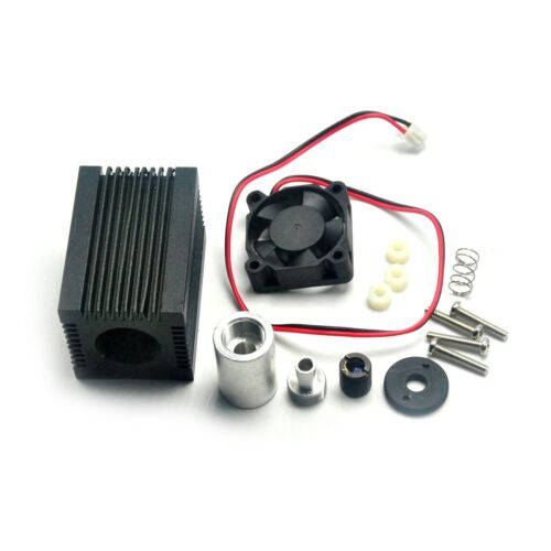 Metal Housing Case w/ 405nm-450nm Glass Lens Fan For 5.6mm Laser Diode Module