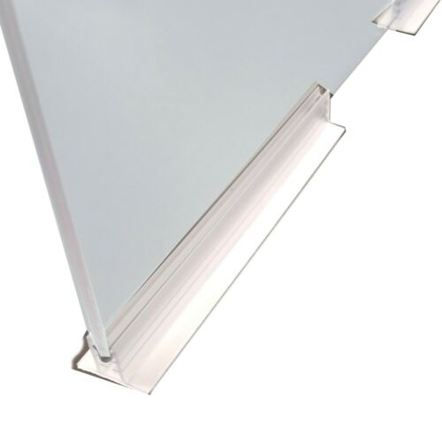 "6"" L Adhesive Plexiglass Sneeze Guard Panel Holder for Sheets 1/8"" to 1/4"" thick"
