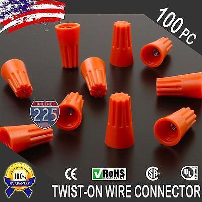 100 Orange Twist-on Wire Gard Connector Conical Nuts 22-14 Gauge Barrel Screw