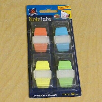 Avery Notetabs 1 X 1.5 Note Tabs Mini Thick Dispenser Assort Neon 40 Pk