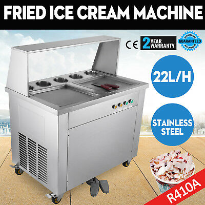 Double Pan Fried Ice Cream Machine Thai Roll Ice Cream 22lh Yogurt Making
