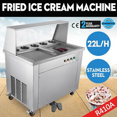 Double Pan Fried Ice Cream Machine Thai Roll Ice Cream 22lh Yogurt Making
