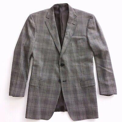 "Z Zegna ""City"" Mens Blazer Coat Jacket Gray Beige Plaid Silk Wool 56R IT 46R US"