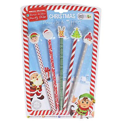 Paquete De 5 Novedad Navidad Lápices Con Personaje Borrador Tops