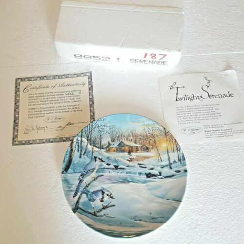 Blue Jays Songbird Twilight Serenade Collector Plate #2 In Wings of Winter COA
