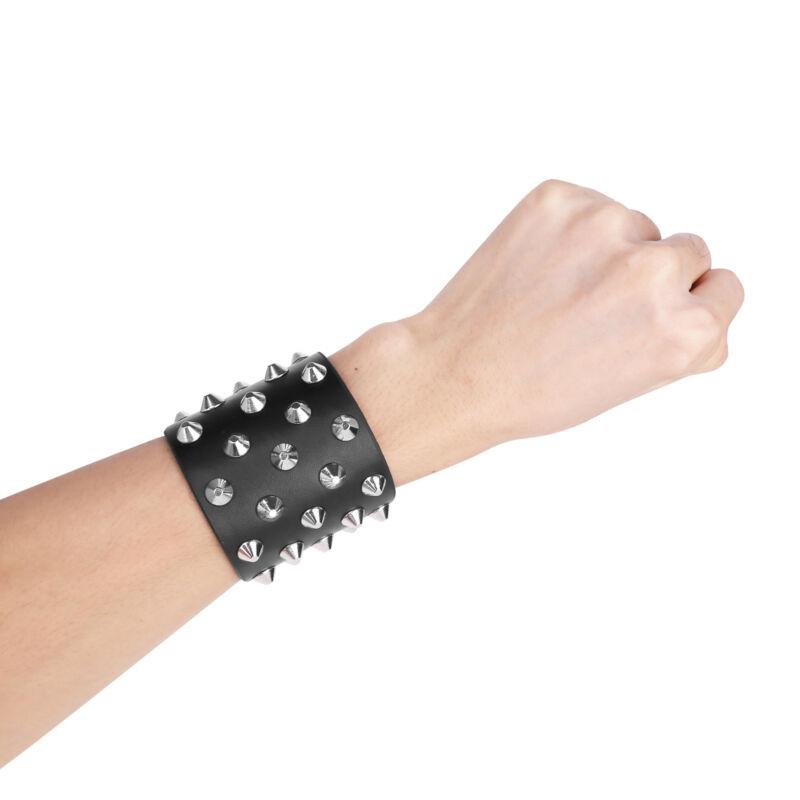 Women Men Cuff Wristband 4.5cm Wide Faux Leather Belt Bracelet Bangle Bangle