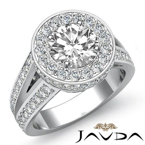 3.5ct Round Diamond Vintage Split Shank Engagement Halo Ring GIA F VS2 Platinum