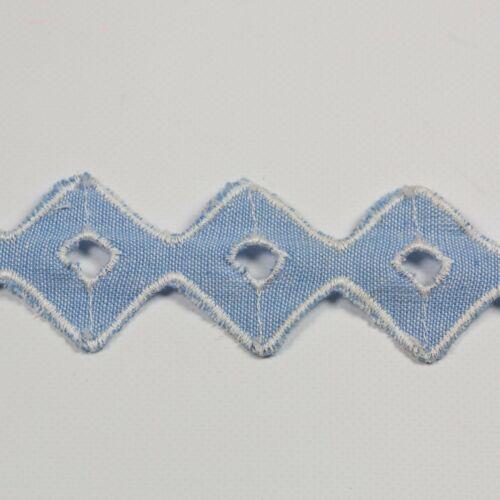 12+metres+%C3%97+35mm+Vintage+Blue+Diamond+Shaped+Anglaise+Lace+Trim+100%25+Cotton