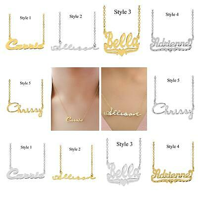 personalized Silver Plated or Gold Plated Heart Script Any NAME necklace chain  Gold Plated Name Necklace