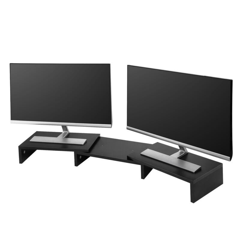 Dual Monitor Stand 3 Shelves Desk Riser with Adjustable Length and Angle