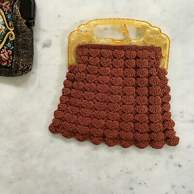 1940s Handbags and Purses History Vintage 1940s Hand Bag Crocheted Evening Purse Cinnamon Brown $45.00 AT vintagedancer.com