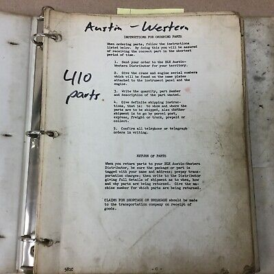 Austin Western 410 Crane Parts Manual Book Catalog Hydraulic All-terrain Guide