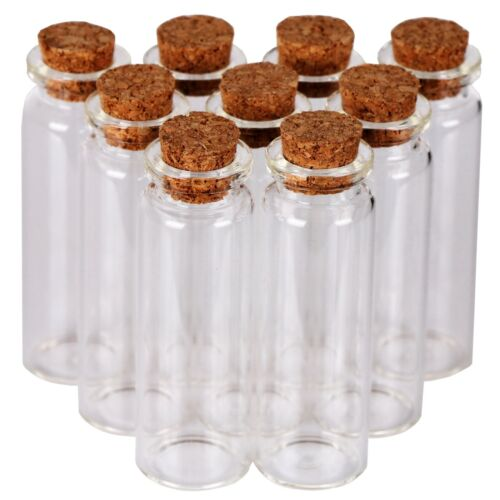 24 15ml Glass Bottles with Cork Stoppers Tiny Vials Small Jars Party Decoration