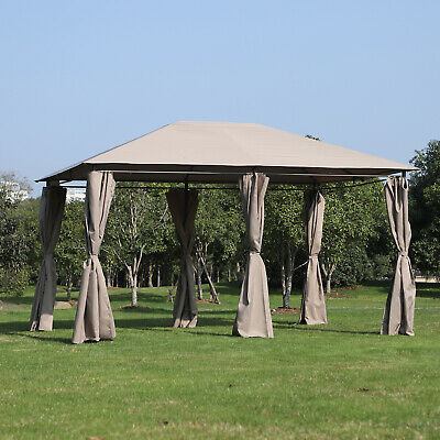 - Outsunny 13' x 10' Steel Outdoor Patio Gazebo Pavilion Canopy Tent with Curtains