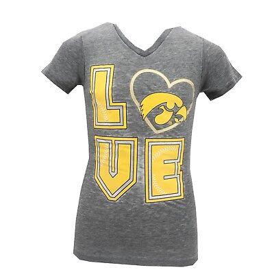 Iowa Hawkeyes Official NCAA Apparel Kids Youth Girls Baseball Sheer Shirt New ()