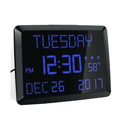 Rocam Digital Calendar Alarm Day Clock 11.5 Extra Large LED Display Desk Wall