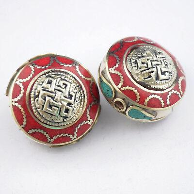 Turquoise Coral Endless Knot 2 Beads Tibetan Handmade Ethnic Tribal Nepal UB2600