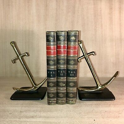 Vintage•Howell Evans•Brass•Anchor Bookends•Nautical•Ship•Boat•Hand Made USA