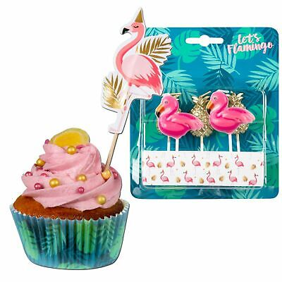 Flamingo Party Supplies Set Cake Cases Cocktail Sticks Candles Birthday Pink ()